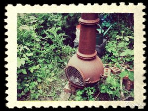 Chiminea surrounded by greenery in York