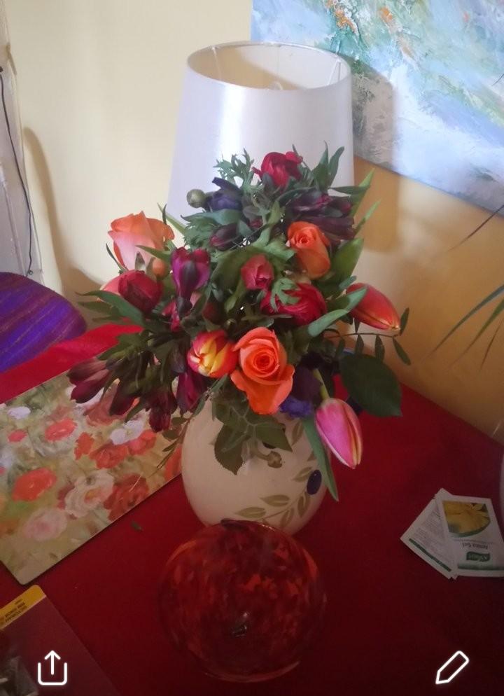 Various spring flowers in vase in York