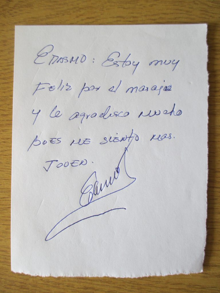 Handwritten testimonial from Erasmo, former chef to Fidel Castro and Che Guevara